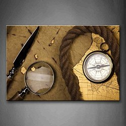 Brown Compass Rope And Knife On Vintage Paper Wall Art Painting Pictures Print On Canvas Art The Picture For Home Modern Decoration