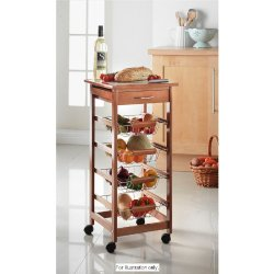 Posh Porschey Quality 4 Tier Portable Oak Kitchen Cart Trolley With Draw & Chopping Board