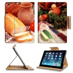 Cucumber Bread Tomato Baked Goods Herbs Knife Apple Ipad Air Retina Display 5Th Flip Case Stand Smart Magnetic Cover Open Ports Customized Made To Order Support Ready Premium Deluxe Pu Leather 9 7/16 Inch (240Mm) X 7 5/16 Inch (185Mm) X 5/8 Inch (17Mm) Li