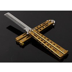 Folding Butterfly Flail Comb Knife Trainer Gold
