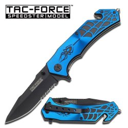 Spider With Web Blue Tactical Rescue Quick Open Pocket Design Folding Knife Collector 1