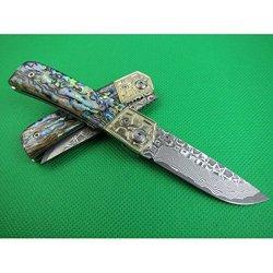 Damascus Custom Knife And Abalone Handle