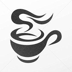Decal Sticker Cup Of Hot Coffee Motorbike Vehicle Weatherproof Garage Mettalic Black (7 X 6.65 In)
