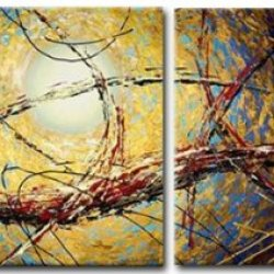 Sangu Wood Framed Splintered Lines Abstract Home Decoration Modern Oil Painting Gift On Canvas 4-Piece Art Wall Decor