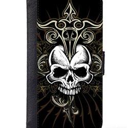 Case Fun Samsung Galaxy Note 3 (N9000) Faux Leather Wallet Case - Black Skull