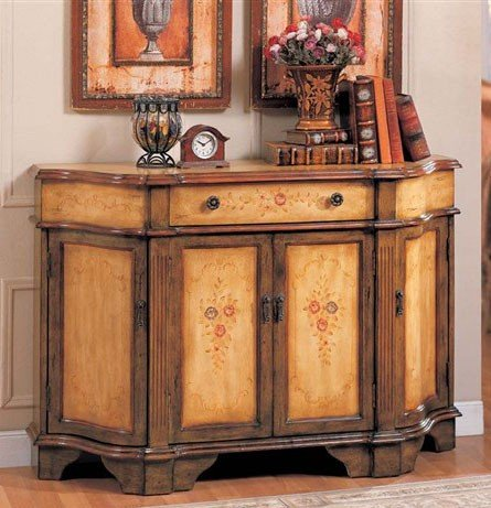 Image of Console Table Bombe Chest Brown & Oak Finish (VF_AZ00-42215x21898)