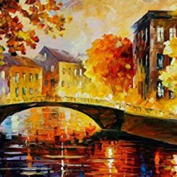 Bridge In Old City Art Wall Decorative Canvas Knife Paintng On Canvas 30X18In/75X45Cm Unframed