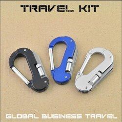 5 In 1 Travel Kit Led Carabiner Clip Pocket Knife Folding Multitool For Camping Hiking Global Business Travel Hunting Outdoor 1Pcs (Black)