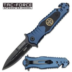 """3.25"""" """"Navy"""" Spring Assisted Rescue Knife - Blue & Black"""