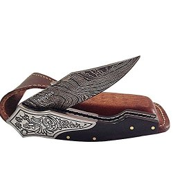 Thunder Bolt Pocket Knife Damascus Steel Blade Horn Handle