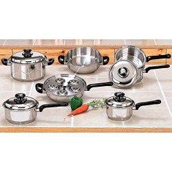 17Pc T304 Stainless Steel Cookware Set Pots Pans Lids Saucepan Skillet Roaster