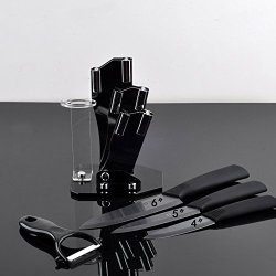 "Timhome Brand Black Blade Ceramic Knife Set Kitchen Knives 4"" 5"" 6"" + Peeler + Acrylic Holder + Covers (4""/5""/6"")"