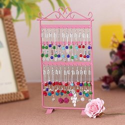 48 Holes Jewelry Harp Earring Rack Stand Holder-Pink