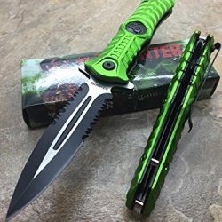 Z-Hunter Assisted Opening Outdoor Hunting Tactical Rescue Pocket Apocalypse Zombie W/ Biohazard Logo Design Knife - Green