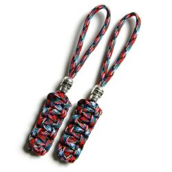 2 Afghan Vet Paracord Zipper Pulls Or Knife Lanyards With Skull Alloy Bead