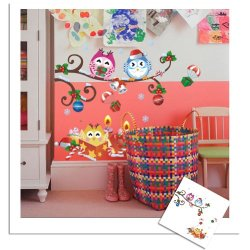 Colourful Christmas Owl Tree Sticker Wall Decal Removable Windows Wall Stickers [Top-Me]-Zy1012