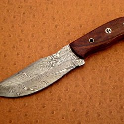 Custom Handmade Damascuss Steel Hunting Knife, Mosaic Pin, Rose Wood Handle