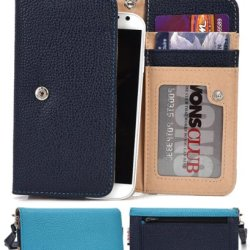 Doogee Dagger Dg550 Wallet Wristlet Case || Navy Blue And Light Blue With Credit Card Holder