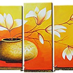 Sangu 100% Hand-Painted Free Shipping Framed 5-Piece Lily Bottle Oil Paintings Canvas Wall Art For Home Decoration