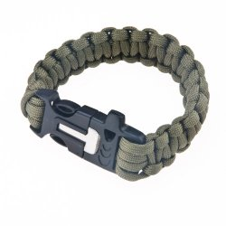 Ska Direct® Premium Paracord Survival Bracelet With Fire Starter And Whistle (Army Green)