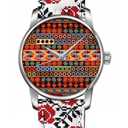 Ouo Vintage Bright Color Analog Quartz Movement Wrist Watch With Design Of Retro Colorful Geometric Pattern Floral Print Watch Women