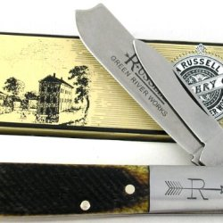 Russell Green River Solingen Germany Razor Barlow 2 Blades Genuine Sawcut Green Bone Knife Ru19