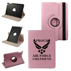 Ipad Mini Proud Air Force Girlfriend Leather Rotating Case 360 Degrees Multi-Angle Vertical And Horizontal Stand With Strap (Pink)