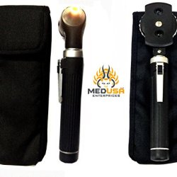Professional Physician Mini Pocket Fiber Optic Otoscopes & Ophthalmoscope Set Black