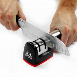 Taidea Two Stage Manual Kitchen Knife Sharpener, Red And Black