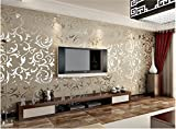 Toprate(TM) Super Large 20.86 inches by 393.7 inches long murals PVC nonwovens vinyl Bump-dimensional silver gray Environmental protection WALL PAPER WALLPAPER ROLL DAMASK Material Emboss Textured Pattern Wallpaper TV Living Room Bedroom Decor