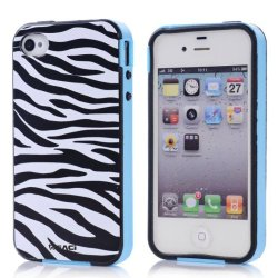 Meaci Apple Iphone 4 4S Case Combo Hybrid Smooth Hard Tpu Material With Pattern (Zebra Print)