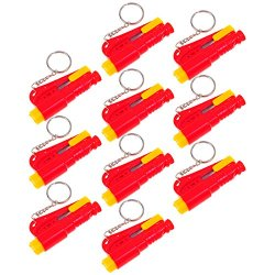 10 Set Life Hammer Car Emergency Tool Emergency Window Breaking Tool Safety Hammer Auto Keychain Belt Car Knife Emergency Rescue Tool Glass Breaker Car Safety Tool Window Broken Tool Seat Belt Cutter Red