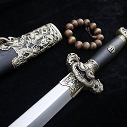 Chinese Sword/Pattern Steel Blade/Black Wooden Scabbard/Brass Fittings/Collection Watch