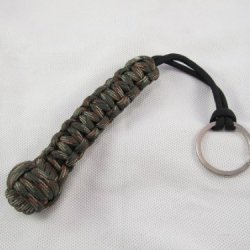 762 Cobra Knot Monkey Fist Black & Green Camo Keychain