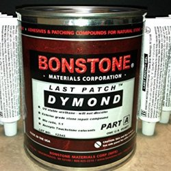 Bonstone Last Patch Dymond Exterior Grade, Uv Stable, Knife Grade, Fast Cure Stone Repair Glue, Adhesive For Granite, Marble, Travertine, Natural Stone 1 Pint A With 14 Tubes B