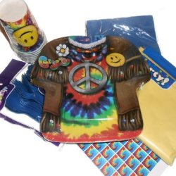 Retro Groovie Tie Dye Party Supplies - 60'S Design Plates, Napkins, Silverware, Cups, Tablecover, & Matching Kiss Labels Favors
