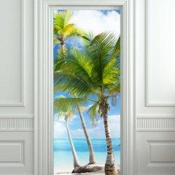 "Door Sticker Palms, Beach, Resort, Ocean, Sea Mural Decole Film Self-Adhesive Poster 30X79""(77X200 Cm)"