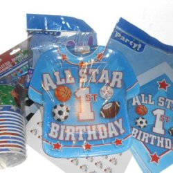 First Birthday Allstar Sports Party Supplies - Plates, Napkins, Silverware, Cups, Tablecover, Banner & Matching Kiss Labels Favors