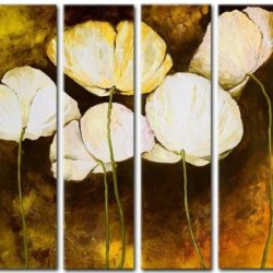 Sangu Wood Framed Royal Blooms Flowers Home Decoration Modern Oil Painting Gift On Canvas 4-Piece Art Wall Decor