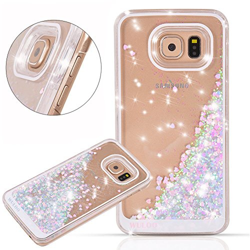Galaxy-S7-Case-Wuloo-Samsung-Galaxy-S7-Hard-Case-Fashion-Creative-Design-Flowing-Liquid-Floating-Luxury-Bling-Glitter-Sparkle-Love-Heart-Hard-Case-for-Grils-Children-PinkBlue