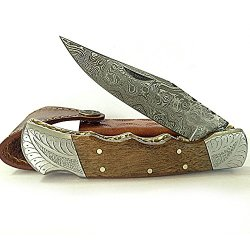 Ginger Pocket Knife Damascus Steel Blade Wood Handle