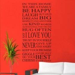 [Top-Me]-Family House Rules Stickers Wall Decal Fashion Art Vinyl Decor Home Kids 110*55Cm 8052