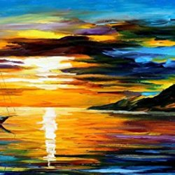 Sailing With The Sun Art Wall Decorative Canvas Knife Painting On Canvas 36 X 20 In 90 X 50 Cm Unframed
