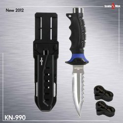 New 420 Stainless Steel Full Size  Pointed Tip Scuba Diving Knife With 2 Straps & Sheath (Blue)