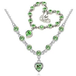 Chariot Trading - Cs184 Fashion 2014 New Heart Rhinestone Austrian Crystal Necklace Bracelets Set ( Color : Silver Green )