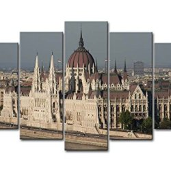 5 Piece Wall Art Painting Hungarian Parliament Building By The River Pictures Prints On Canvas City The Picture Decor Oil For Home Modern Decoration Print For Items