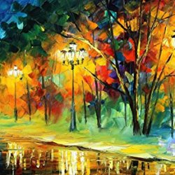 Hand-Painted Artwork Living Room Bedroom Corridor Decor Art Nice Palette Knife Oil Paintings On Canvas (Happy Lights) - 25 X 15 Inch , Unframed