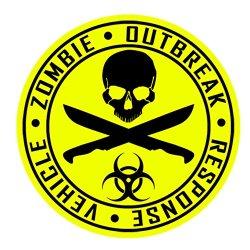 Auto Vynamics - Zorv-Machetes-20Bg-Gblayel - Gloss Black & Yellow 2-Color Vinyl Zombie Outbreak Response Vehicle (Zorv) Decal - Crossed Machetes Design - Single Decal - (1) Piece Kit - 21-By-21-Inches