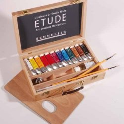 Sennelier Etude Wood Box Set Of 12 Tubes (34Ml)