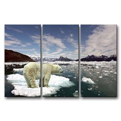 3 Panel Wall Art Painting Polar Bear In A Small Ice Pictures Prints On Canvas Animal The Picture Decor Oil For Home Modern Decoration Print For Items